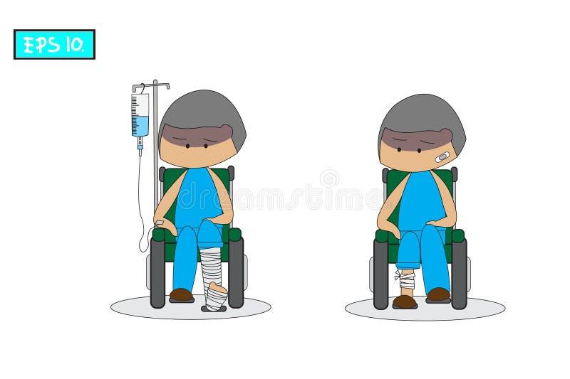 Le patient reposent le fauteuil roulant et porter une robe bleue Il a été blessé avec la fonte de jambe cassée et de plâtre illustration de vecteur