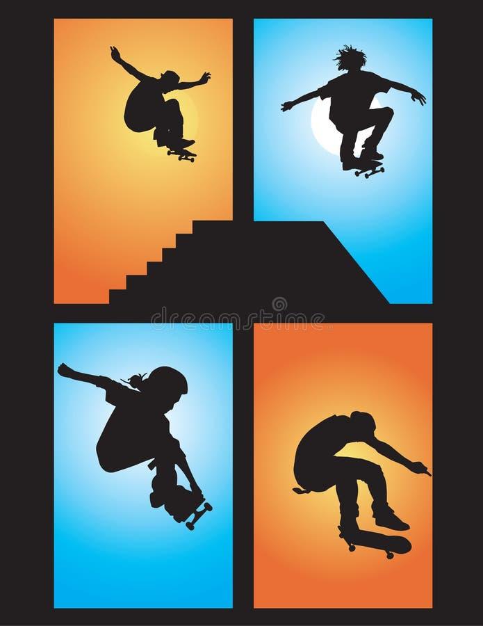 Le patineur aère illustration de vecteur