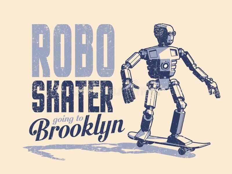 Le patineur de robot monte une planche à roulettes - affiche d'art de bruit de cru dans le style de timbre illustration de vecteur