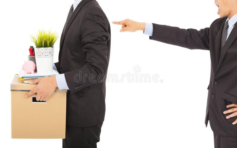Le patron écarte l'employé. d'isolement sur le blanc photo libre de droits