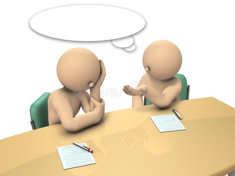 Le patron conseille ses subalternes comment rédiger un rapport illustration de vecteur