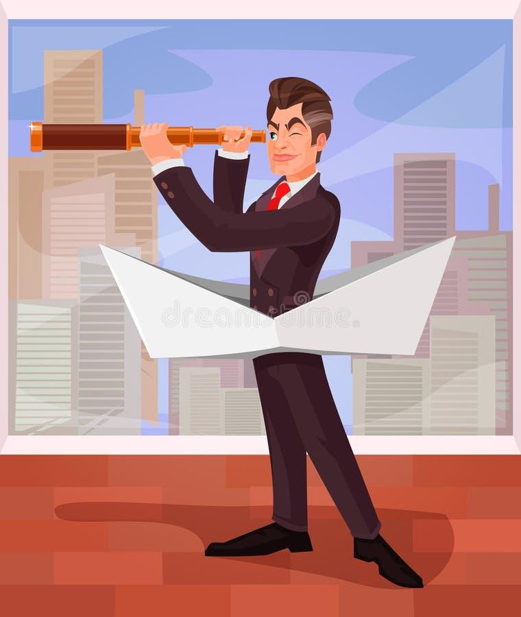 Le patron d'homme d'affaires dirige ses affaires vers de divers risques illustration de vecteur