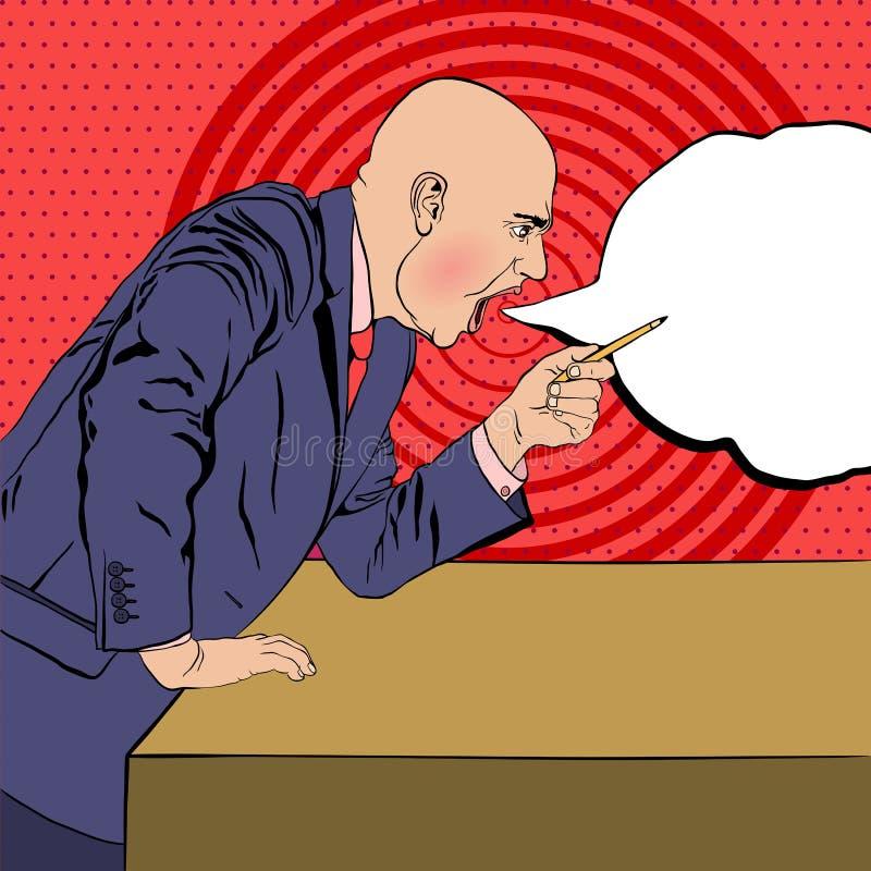 Le patron fâché jure sur le fond dans le style du côté d'art de bruit luttent illustration stock