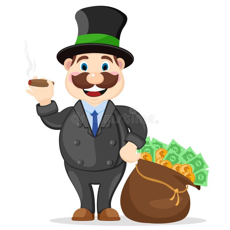 Le patron riche fume un cigare à côté d'un plein sac d'argent sur un fond blanc illustration de vecteur