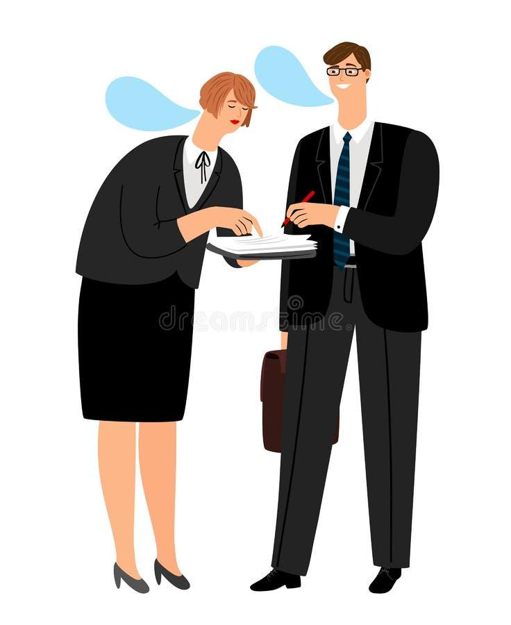 Le patron signe le contrat Le secr?taire a apport? des documents pour la signature illustration stock
