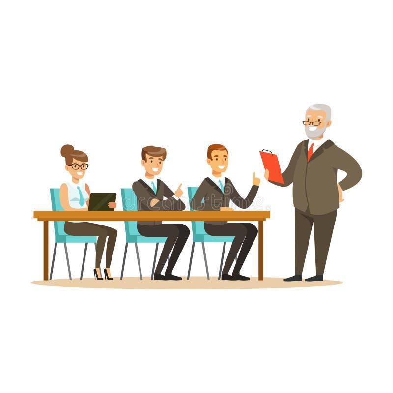 Le patron supérieur expliquant à de jeunes idées d'affaires de collègues dirigent l'illustration illustration stock