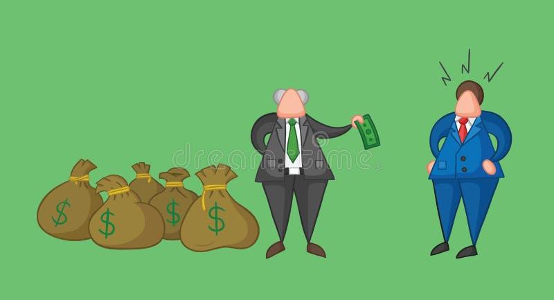 Le patron tir? par la main de vecteur a beaucoup d'argent avec des sacs et verse un argent sur son travailleur d'homme d'affaires illustration libre de droits