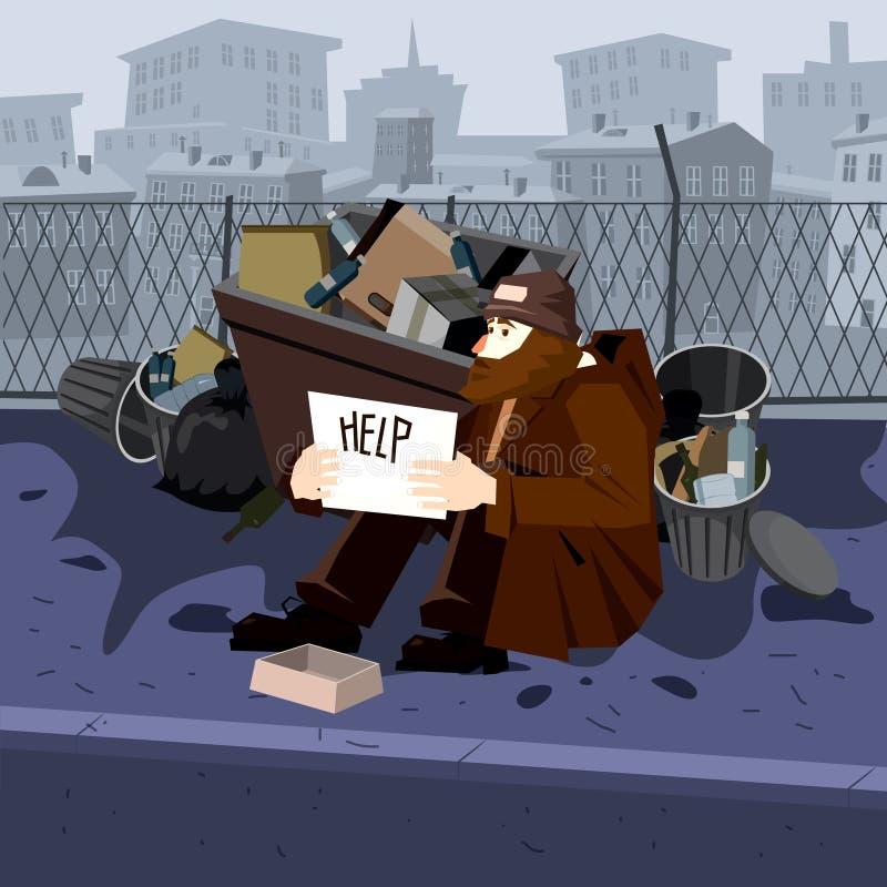 Le pauvre homme sans abri demande l'aide des poubelles de fer Fond de ville Style de bande dessin?e de vecteur illustration stock