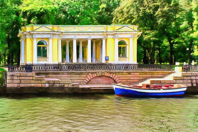 Le pavillon de Rossi sur le remblai de rivière de Moika illustration stock