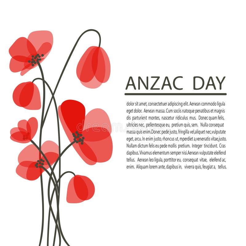 Le pavot lumineux fleurit l'illustration de vecteur Symbole de jour de souvenir Affiche de jour d'Anzac illustration libre de droits