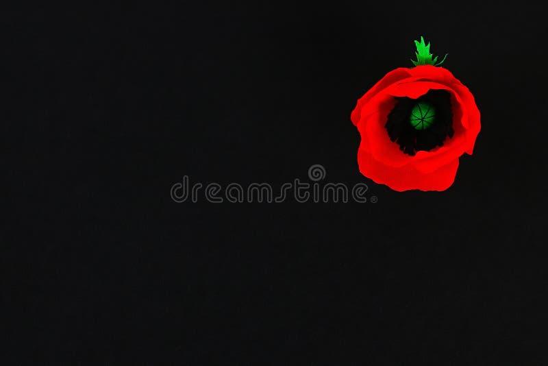 Le pavot rouge Anzac Day, souvenir de papier de Diy, se rappellent, papier de crêpe de Jour du Souvenir sur le fond noir photos stock