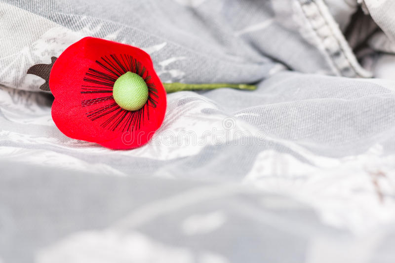 Le pavot rouge est un symbole de jour de vétérans de la Thaïlande photographie stock