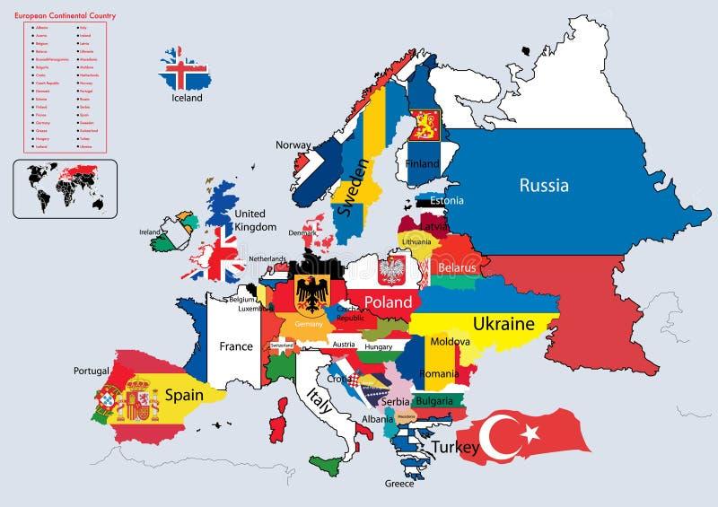 le pays continental l'Europe marque la carte illustration de vecteur
