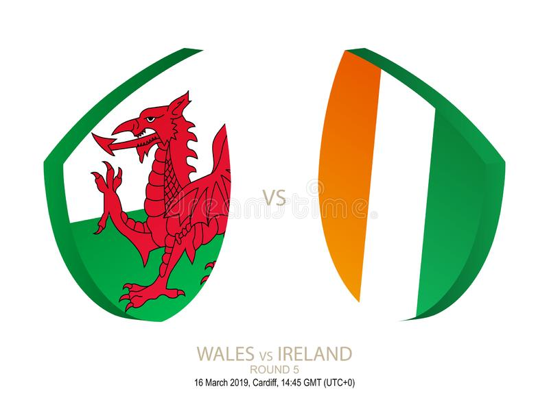 Le Pays de Galles contre l'Irlande, rugby 2019 six championnats de nations, rond 5 illustration stock