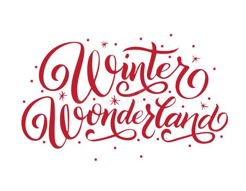 Le pays des merveilles d'hiver de lettrage de main illustration de vecteur