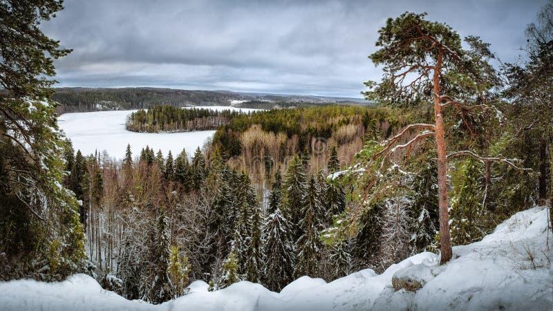 Le pays des merveilles d'hiver en Finlande d'un point de vue image stock