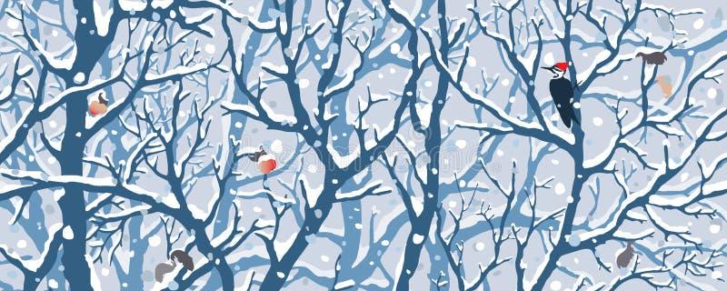 Le pays des merveilles d'hiver - première neige illustration stock