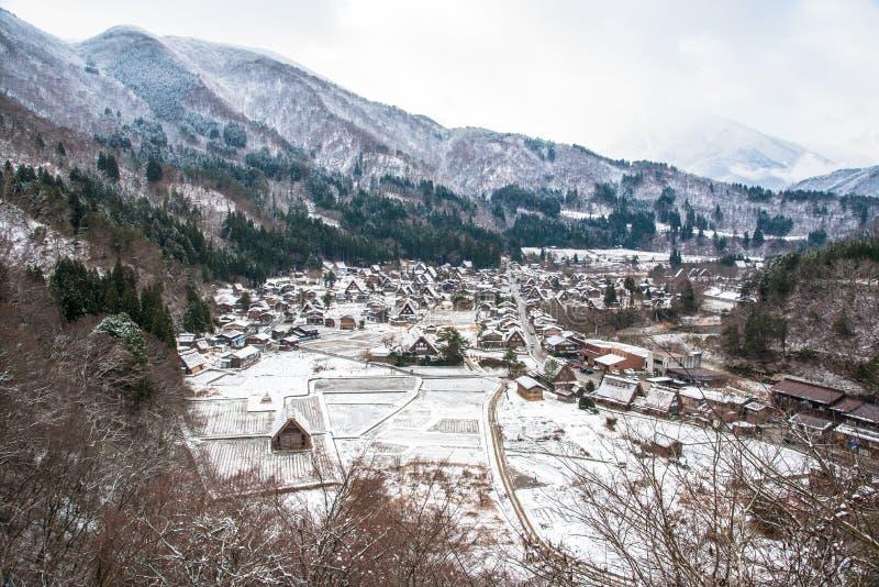 Le pays des merveilles de bobinier de Shirakawago images libres de droits