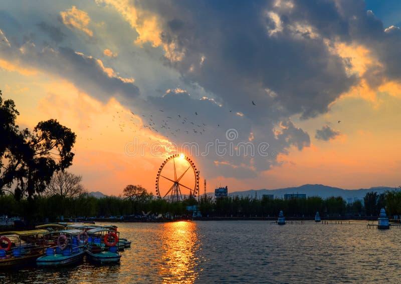 Le pays des merveilles de coucher du soleil de Daguanlou photos libres de droits