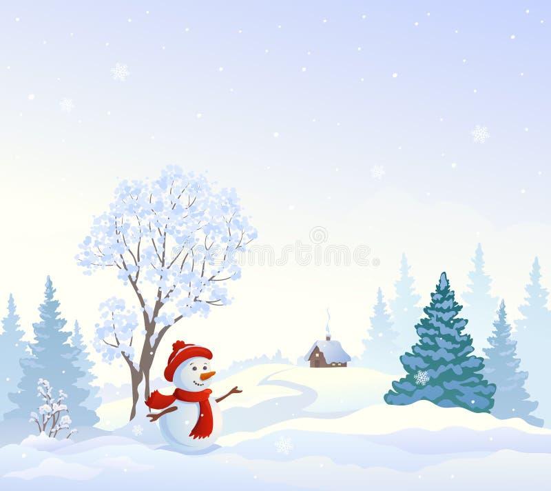 Le pays des merveilles de Milou avec un bonhomme de neige de salutation illustration libre de droits