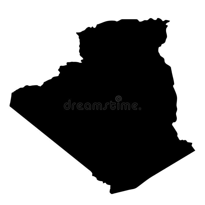 Le pays noir de silhouette encadre la carte de l'Algérie sur le backgro blanc illustration stock