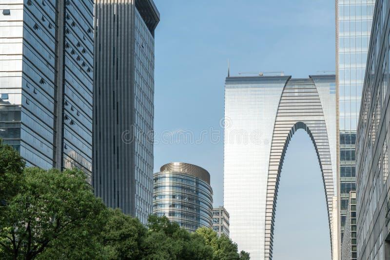 Le paysage au centre de la ville, fond commercial moderne images stock