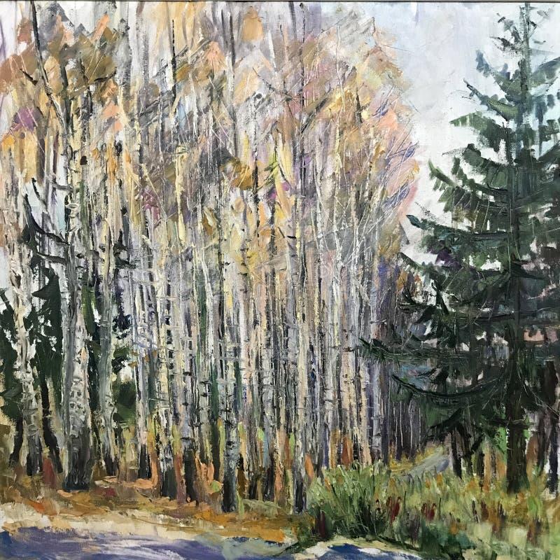 Le paysage dépeint des sapins d'arbres, bouleaux illustration stock