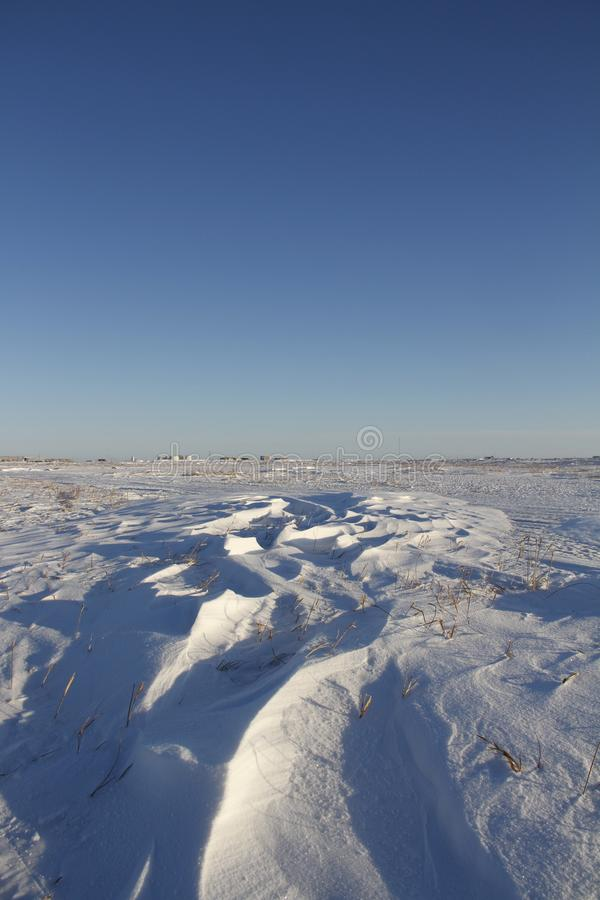 Le paysage d'hiver avec Sastrugi, vent a découpé des arêtes dans la neige photos libres de droits