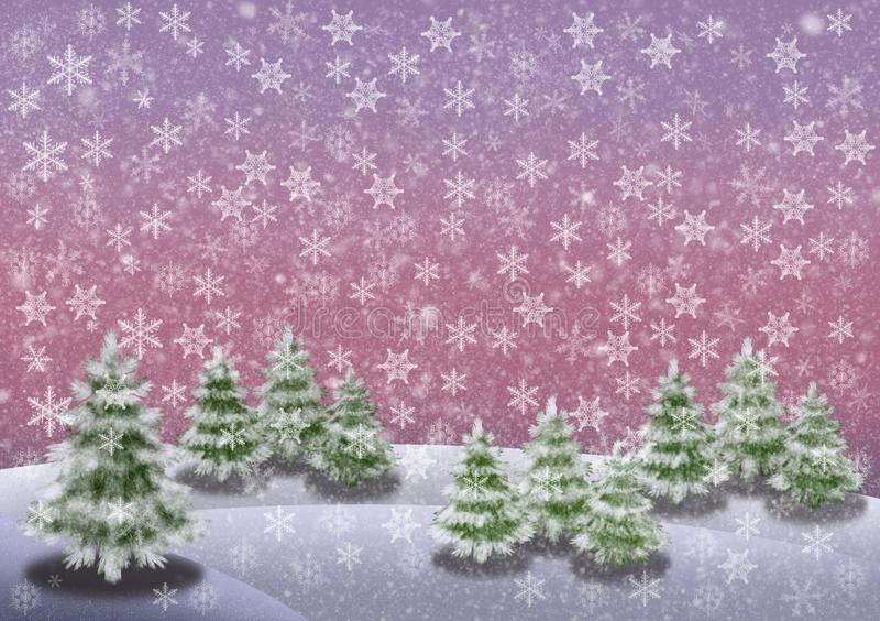 Le paysage d'hiver de Milou avec des sapins un ciel et une neige roses s'écaille image horizontale illustration de vecteur