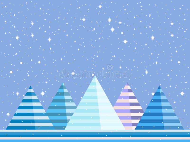 Le paysage d'hiver de montagne est style plat Noël, fond couvert de neige Vecteur illustration libre de droits