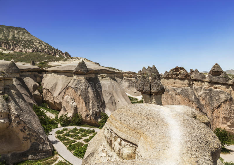 Le paysage de Cappadocian, roches roses, photographie stock libre de droits