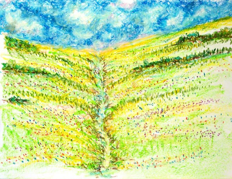 Le paysage de gisement de fleurs, huilent l'illustration en pastel de peinture illustration de vecteur