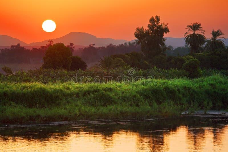 Le paysage de lever de soleil du Nil photographie stock libre de droits
