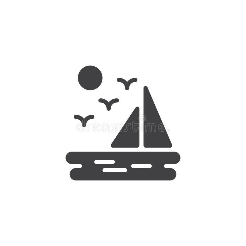 Le paysage de mer avec des oiseaux de vol de voilier et le soleil dirigent l'icône illustration libre de droits