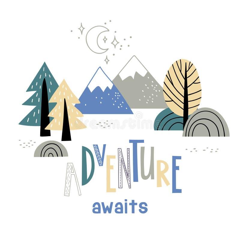 Le paysage de montagne de Minimalistic avec des arbres et l'aventure d'inscription d'écriture attend illustration stock