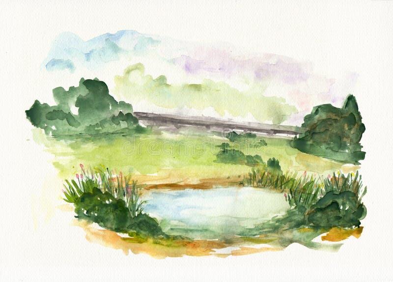 Le paysage de nature avec le lac bleu sur l'aquarelle a donné au papier une consistance rugueuse illustration stock
