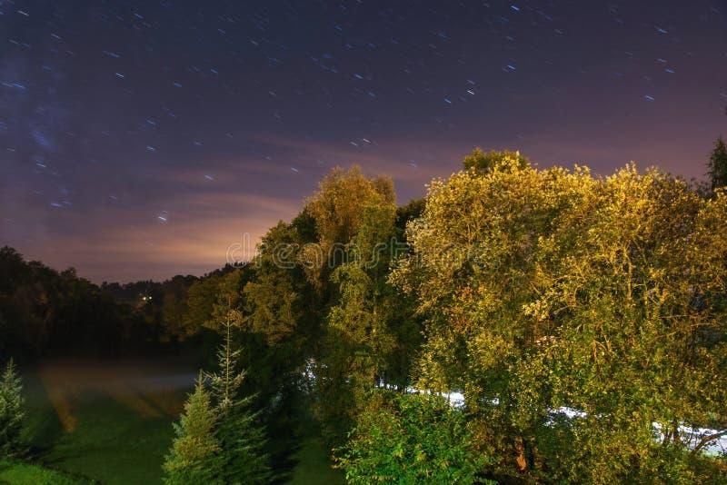 Le paysage de nuit avec l'escalier traîne, manière d'amd de forêt images stock