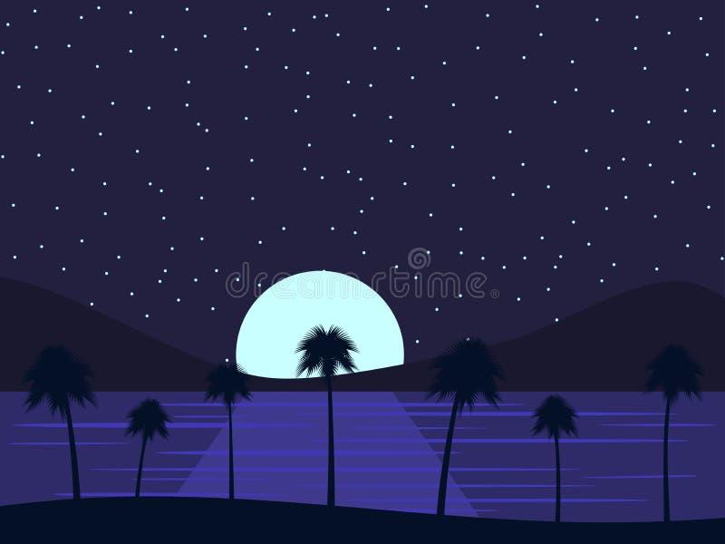 Le paysage de nuit avec les palmiers et la mer, cumulent deux emplois sur l'eau et le ciel étoilé Paradis tropical Vecteur illustration de vecteur
