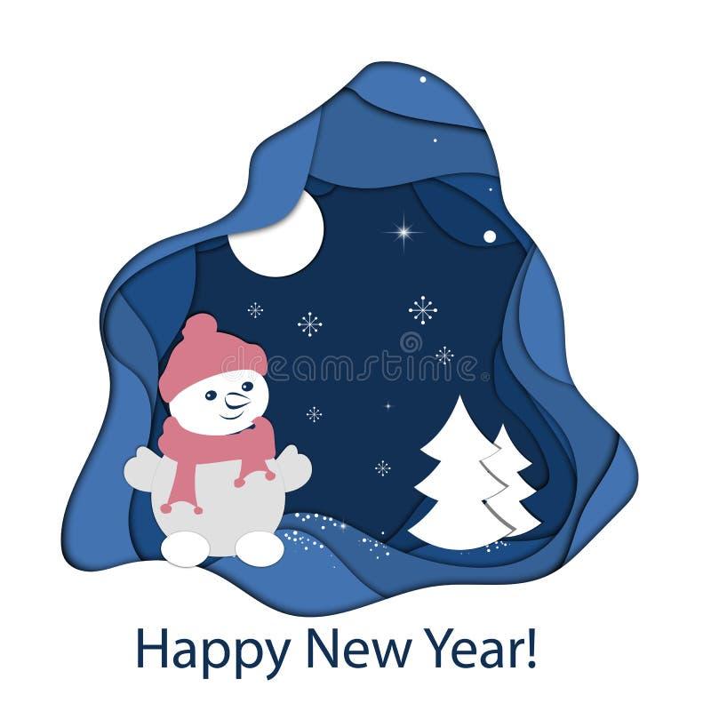 Le paysage de papier d'art de Noël et la bonne année avec l'arbre et la maison conçoivent Illustration de vecteur illustration libre de droits