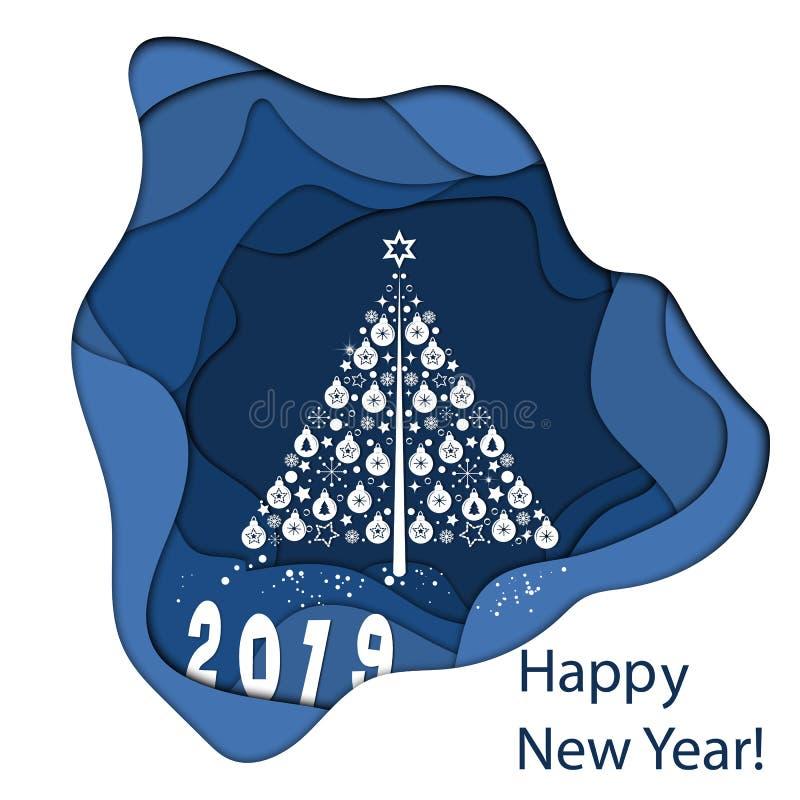 Le paysage de papier d'art de Noël et la bonne année avec l'arbre et la maison conçoivent Illustration de vecteur illustration de vecteur