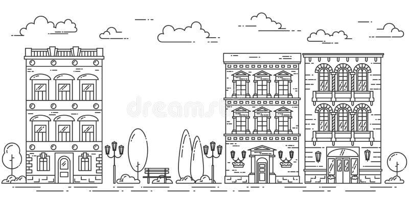 Le paysage de ville avec des arbres de café de maisons garent schéma illustration libre de droits
