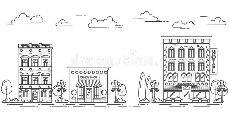 Le paysage de ville avec des arbres de café de maisons opacifie schéma illustration libre de droits