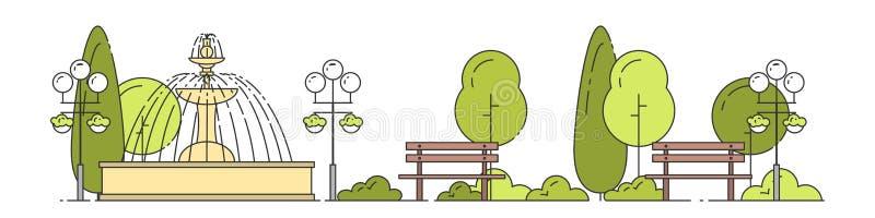 Le paysage de ville avec le parc public dans plat arbres de vert de schéma, bancs et lampadaires de rue s'approchent de la fontai illustration de vecteur