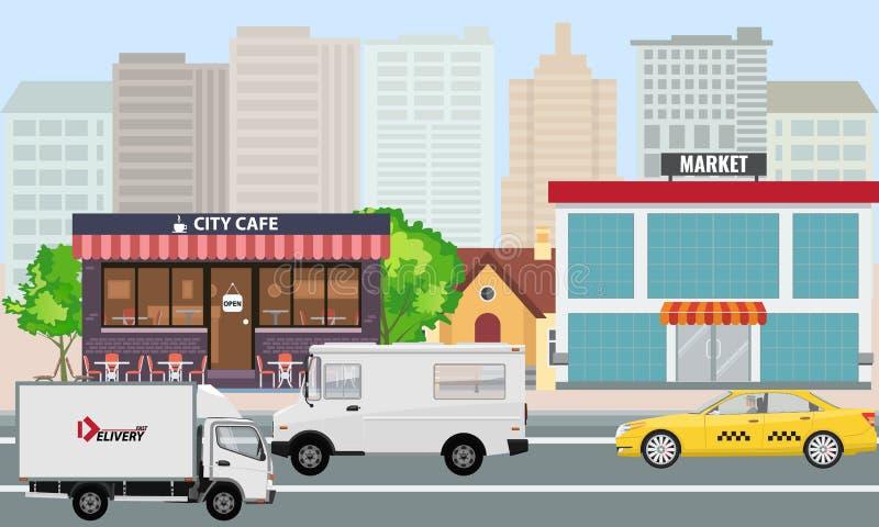 Le paysage de ville de vecteur avec le bâtiment du marché et de café et les voitures passent par la rue illustration libre de droits