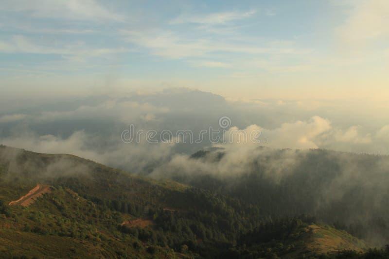 Le paysage des montagnes au coucher du soleil en été image stock