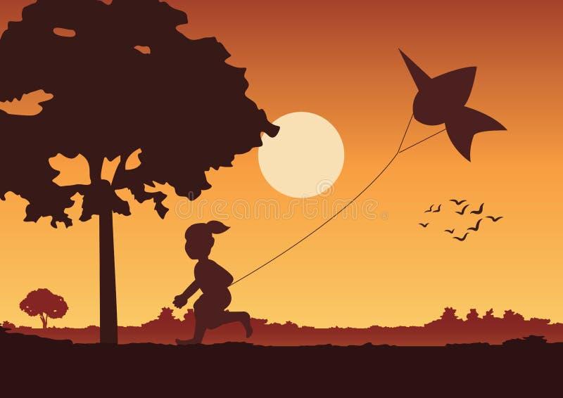 Le paysage et la vie à la campagne de coucher du soleil avec un garçon jouent un cerf-volant autour avec l'arbre campagne de mode illustration libre de droits