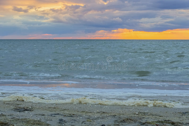 Le paysage marin dramatique, mousse, ondule photo libre de droits