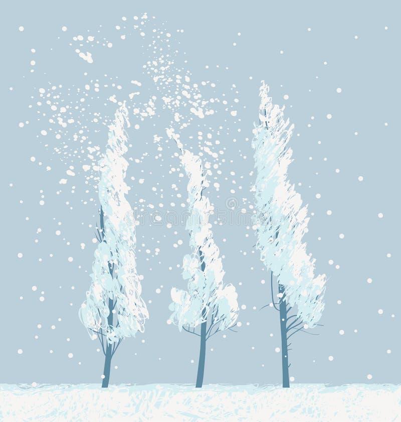 Le paysage neigeux d'hiver avec la neige a couvert des arbres illustration de vecteur