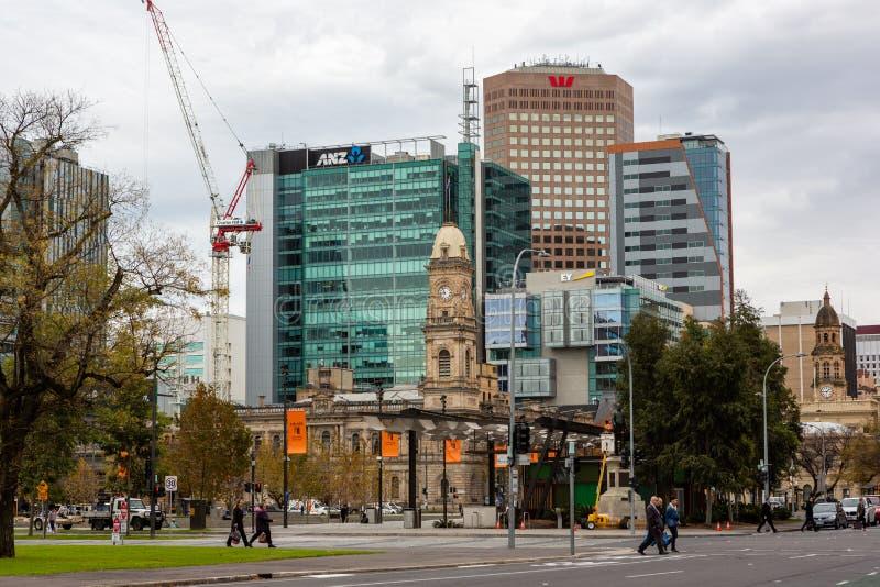 Le paysage urbain d'Adelaïde feautring le bureau de poste sur Victoria Squ photographie stock libre de droits