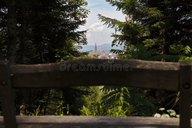 Le paysage urbain de Fribourg avec Munster a encadré avec les arbres et le banc dans le premier plan photo libre de droits